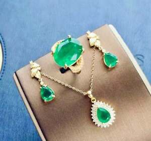 Certified Colombia Emerald 925 Sterling Silver Ring Pendant Earrings Set Gifts