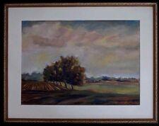 Gouache peinture paysage campagne automne signé landscape painting 52x 37cm