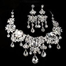 Mié Joya Set espumosos Cristal Diamante Flor Collar pendientes de clip conjuntos