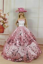 Pink Fashion Party Princess Dress Wedding Clothes/Gown+Hat For Barbie Doll S256