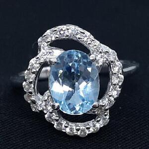 World Class 2.40ct Swiss Topaz & Diamond Cut White Sapphire 925 Silver Ring SZ 8