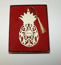 Lenox Pineapple Greetings Christmas Ornament Friendship Porcelain Gold Trim Box
