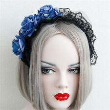 Fashion Women Girls Blue Gothic Lace Rose Flower Hairband Headband Party Wedding