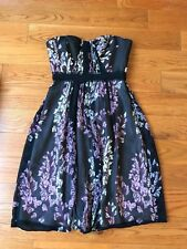 NWOT$328 BCBG Max Azria silk ruched floral strapless dress, size 2 XS