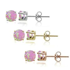 Sterling Silver Tri Color Created Pink Opal 4mm Round Earrings, Set of 3