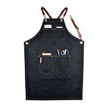 Cooking Apron Denim Multiple Pocket Leather Strap Baker Bartender Chef Uniform