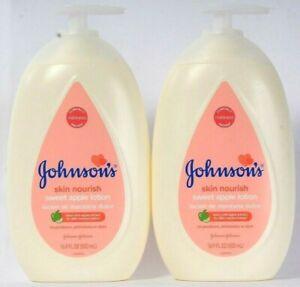 (2) Johnson's Skin Nourish Sweet Apple Extract 24h Moisture Lotion 16.9 Oz