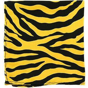 New Animal Zebra Print Pocket Square Hankie Handkerchief Yellow formal