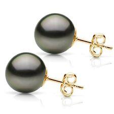 Stud Earrings 14K Yellow Gold  10-11mm Black South Sea Tahitian Pearl