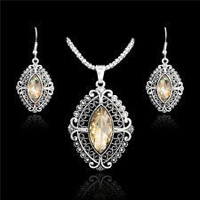 Fashion Women Wedding Silver Jewelry Set Crystal Necklace Earrings Rhinestone