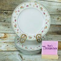 ABINGDON By Japan Pink Orange Floral Fine Porcelain China Dinner Plates Set 4
