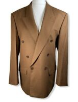 Vintage ST MICHAEL Camel Wool Cashmere Blazer Size 40 Double Breasted Jacket