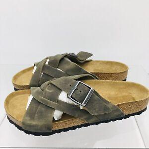 Birkenstock Mens Lugano Sandal Oiled Leather Faded Khaki Size 43 US 10