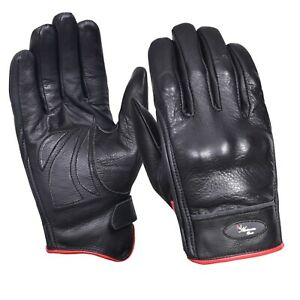 Vented Leather Motorbike Motorcycle Gloves Knuckle Shell Protection Summer