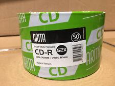 100 ARITA CD-R 52x CD DISCS DATA 700MB VIDEO 80MINS INKJET WHITE PRINTABLE