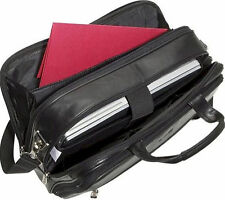 """Kenneth Cole REACTION black leather briefcase """"I REST MY CASE"""""""