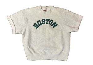 VTG 90's Boston Spell Out Sweatshirt Short Sleeve Size XL Made USA