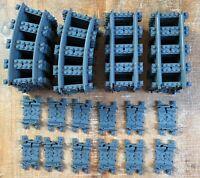 Lego City RC Train Track 40 Piece Lot Curve Straight Flexible Dark Bluish Gray