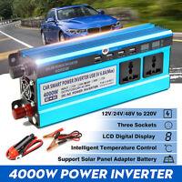 4000W DC 12/24/48V To AC 220V Car Solar Power Inverter Sine Wave Converter LED