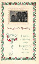 Junction City OH~Miniature Vw~United Brethren Church~New Year Holly & Bells 1917