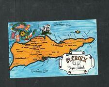 Y126 Chrome Postcard 3x5 Map of St Croix Virgin Islands