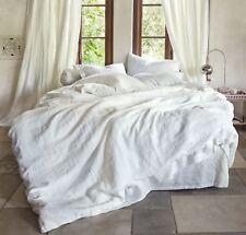 Luxury PURE Linen WHITE Quilt Duvet Cover Set Flax Bedding Super King 260x220