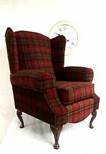 Queen Anne Wing Back Cottage Style Fireside  Chair in Red Lana Tartan Fabric