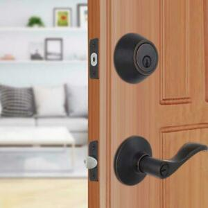 Defiant Naples Aged Bronze Entry Lever and Single Cylinder Deadbolt Combo Pack
