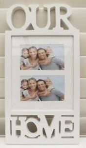 """PHOTO FRAME OUR HOME  HOLDS 2 PHOTOS 4""""x6"""" WHITE  NEW FREE POST"""
