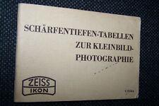Schärfentiefetabelle zur Kleinbildfotografie Zeiss Ikon Dresden 1937 antik buch
