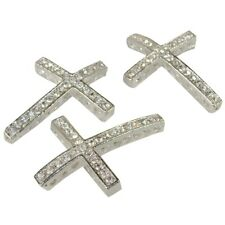 Rhinestone Cross Pave Silver crystal 3 Each 25mmx35mm C7B9