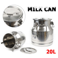 20L Milk Can Wine Pail Stainless Steel Water Bucket 5.25 Gal Silicone Seal New