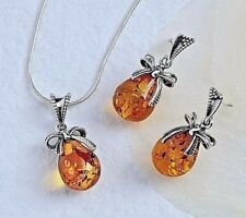 Baltic Amber & Sterling Silver Ribbon Bow Petite Necklace and Earrings Set