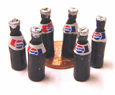 1:12th 6 Small Pepsi Bottles Dolls House Miniature Pub Bar Cafe Shop Drink TyA