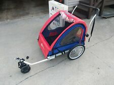 InStep Bicycle Bike Trailer Double Stroller Folds Rain Canopy Screen Red & Blue