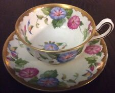 BEAUTIFUL ROYAL CHELSEA FOOTED CUP SAUCER~MORNING GLORY~HEAVY GOLD~PINK~BLUE~ENG