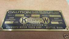 Kenworth Vintage Data Plate acid etched Brass