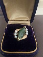 Estate Vintage 14k Jade And Pearl Ring Size 6.5