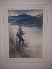 "Original Watercolor E. Zanto 1941 Fly Fishing Pipe Smoking 11"" x 14.5"" Matted"