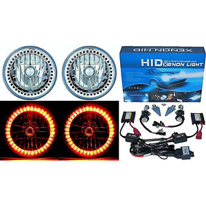 "7"" HID Amber LED Halo Ring Angel Eyes Headlight 6000K 6K Light Lamp Bulbs Pair"