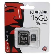 Genuine Kingston 16 GB Micro SDHC Classe 4 Flash Card + Adattatore rete UK consegna veloce