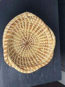 "Charleston South Carolina Gullah Sweetgrass 7 3/4""  Interwoven Basket Folk Art!"