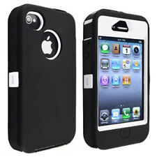 RUBAN Hybrid White Hard Black Rubber Silicone Case Skin For Apple iPhone 4 4G 4S