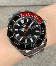 SRPC57K1 Automatic Black & Red Day & Date Dial Silver Steel Watch for Men