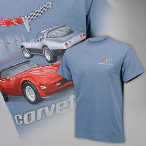 Corvette 1978-1982 C3 Stingray Red & Silver on Indigo Heather T-Shirt 684801