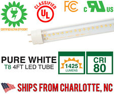 4ft LED Tube Lighting T8 Tube - 5000K Pure White - 2 Pack - 20,000 Available!
