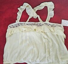 FREE PEOPLE Tank Top Short Sleeve Sexy Shirt Cami size Large light yellow blouse