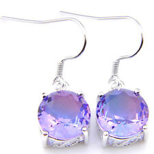 Mystical Blue Purple Round Bi Colored Tourmaline Silver Dangle Hook Earrings
