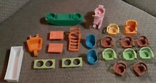Large Lot 21pcs Fisher Price Little People + Other Brands Furniture/Accessories