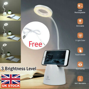 Dimmable USB Rechargeable LED Study Night Light Table Desk Bedside Reading Lamp